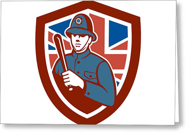 Police Officer Greeting Cards - British Bobby Policeman Truncheon Flag Shield Retro Greeting Card by Aloysius Patrimonio