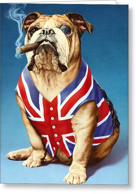 Cigar Greeting Cards - British Bulldog Greeting Card by Andrew Farley