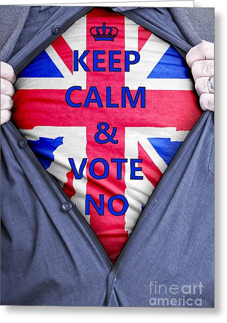 Voters Greeting Cards - British Businessman Votes No Greeting Card by Antony McAulay