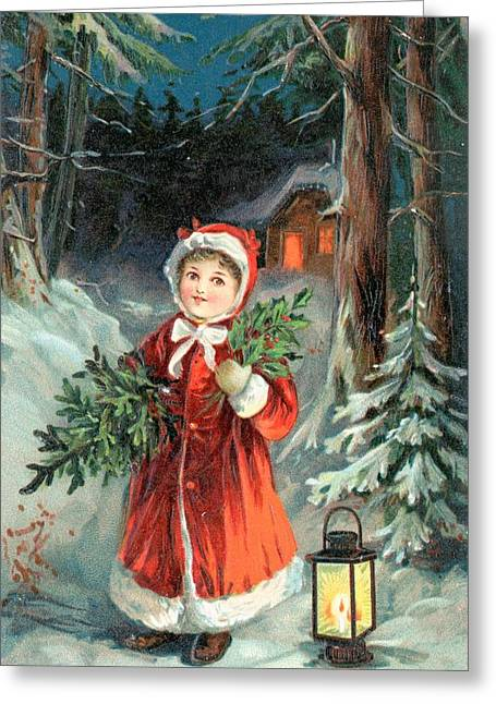 Christmas Greeting Drawings Greeting Cards - British Christmas Card Greeting Card by English School