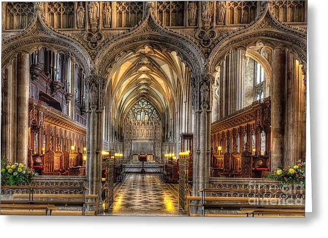 Vaulted Ceilings Greeting Cards - British Church Greeting Card by Adrian Evans