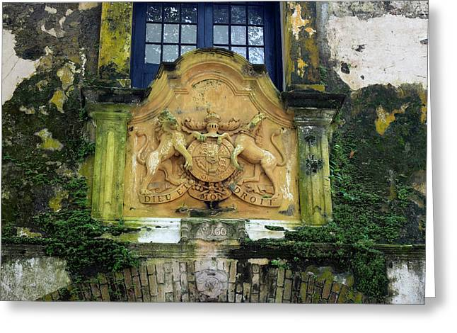 British Coat-of-arms On Warehouse Greeting Card by Panoramic Images