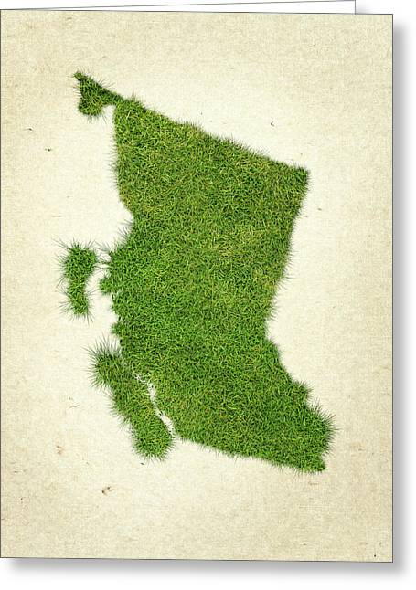 Planet Map Mixed Media Greeting Cards - British Columbia Grass Map Greeting Card by Aged Pixel