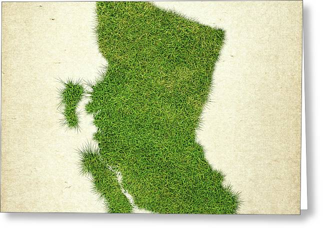British Columbia Grass Map Greeting Card by Aged Pixel