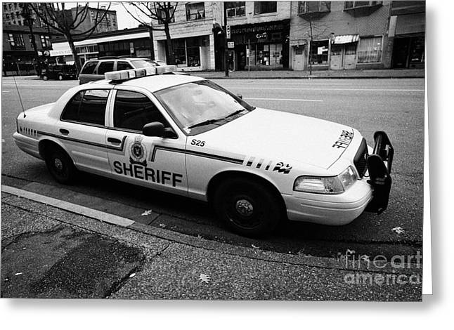 North Vancouver Greeting Cards - british columbia sheriff service patrol car vehicle Vancouver BC Canada Greeting Card by Joe Fox