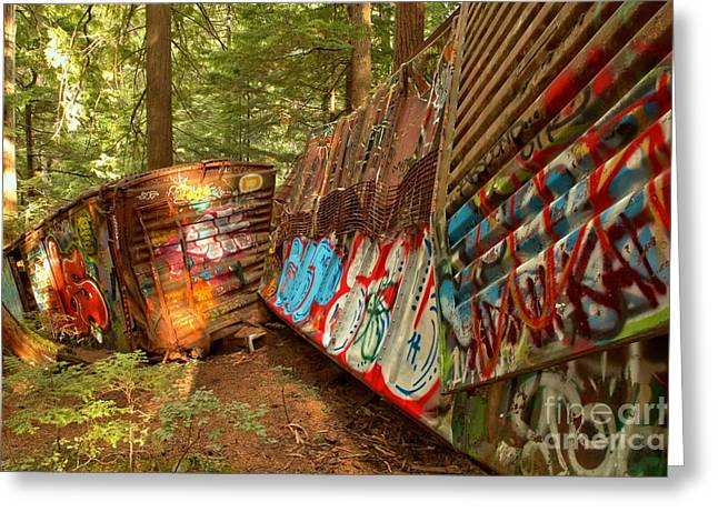 Candian Greeting Cards - British Columbia Train Wreck Box Cars Greeting Card by Adam Jewell