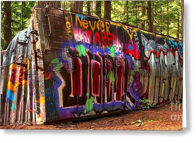 Sea To Sky Highway Greeting Cards - British Columbia Train Wreck Graffiti Greeting Card by Adam Jewell