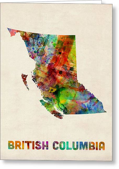 Map Of Canada Greeting Cards - British Columbia Watercolor Map Greeting Card by Michael Tompsett