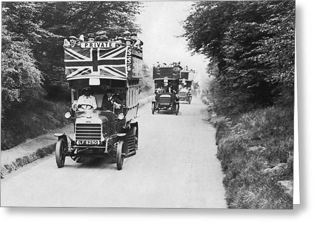 British Double Decker Buses Greeting Card by Underwood Archives