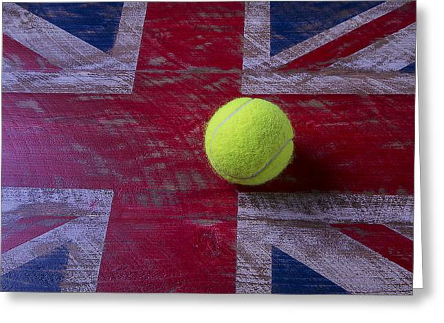 Saint George Greeting Cards - British flag and tennis ball Greeting Card by Garry Gay