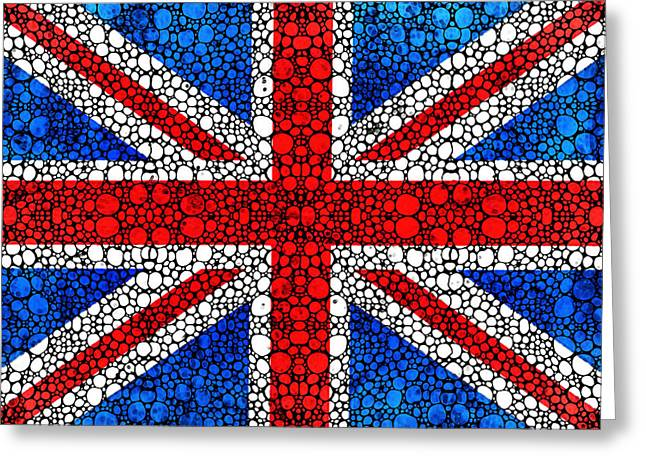 British Flag Greeting Cards - British Flag - Britain England Stone Rockd Art Greeting Card by Sharon Cummings