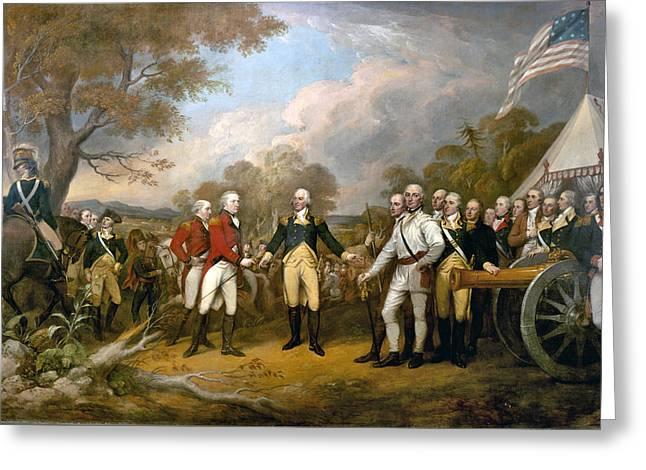British General John Burgoyne Surrenders At Saratoga Greeting Card by Celestial Images