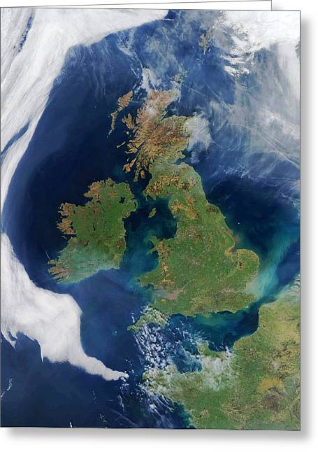 March 2012 Greeting Cards - British Isles, satellite image Greeting Card by Science Photo Library