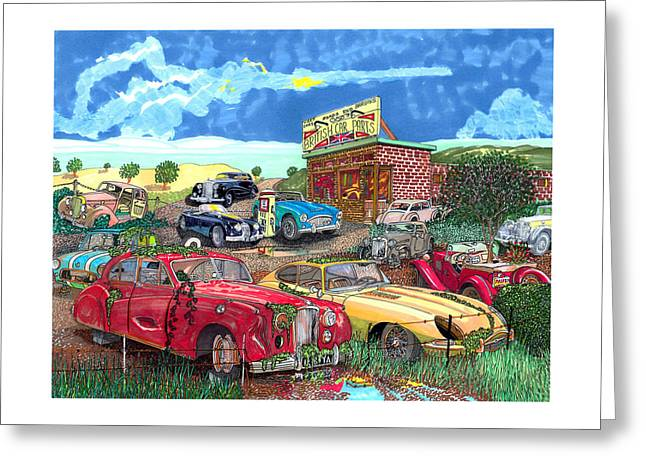 Beat It Greeting Cards - British Junkyard Field of Dreams Greeting Card by Jack Pumphrey