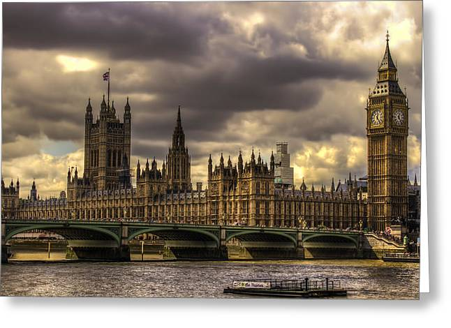 London Pyrography Greeting Cards - British Parliament  Greeting Card by Luis Tobias