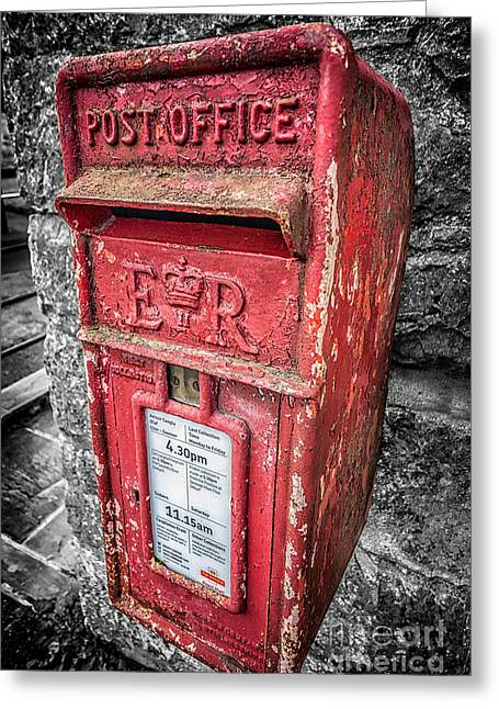 Selective Colouring Greeting Cards - British Post Box Greeting Card by Adrian Evans