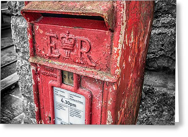 British Post Box Greeting Card by Adrian Evans