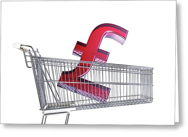 British Pound Sign In A Trolley Greeting Card by Leonello Calvetti