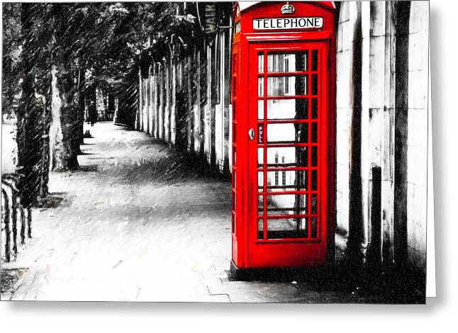 British Red Telephone Box From London Greeting Card by Mark E Tisdale