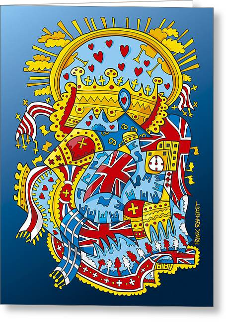 British Royal Ceremony Doodle Greeting Card by Frank Ramspott