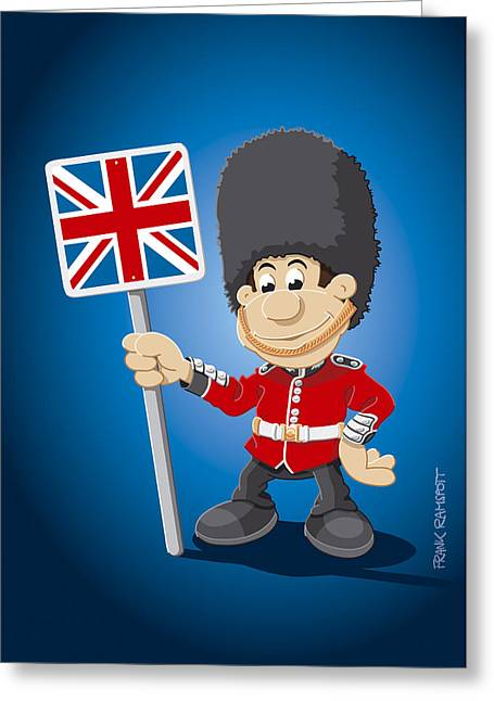 British Royal Guard Cartoon Man Greeting Card by Frank Ramspott