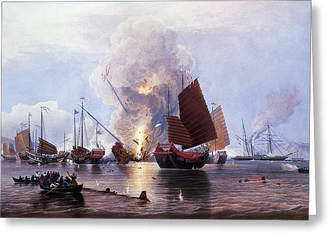 British Ships Destroying An Enemy Fleet In Canton Greeting Card by Anonymous