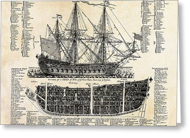 Warship Drawings Greeting Cards - BRITISH SHIPS of WAR  1728 Greeting Card by Daniel Hagerman