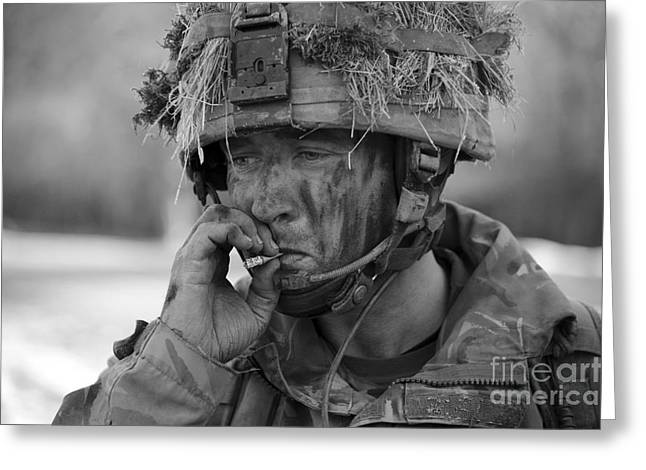 Hopelessness Greeting Cards - British Soldier Smoking A Cigarette Greeting Card by Andrew Chittock