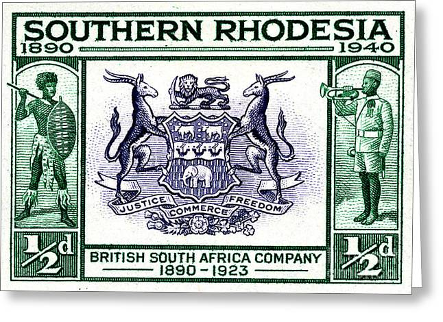 Zimbabwe Greeting Cards - British South Africa Company - 1/2d Crop Greeting Card by Outpost Imagery