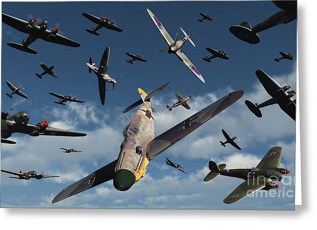 Bomber Escort Greeting Cards - British Supermarine Spitfires Attacking Greeting Card by Mark Stevenson