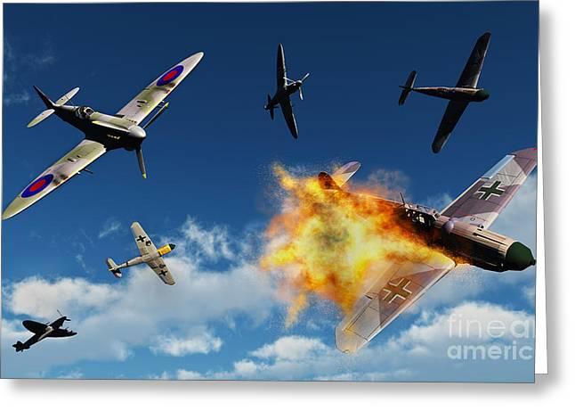 Jet Artwork Greeting Cards - British Supermarine Spitfires Battle Greeting Card by Mark Stevenson