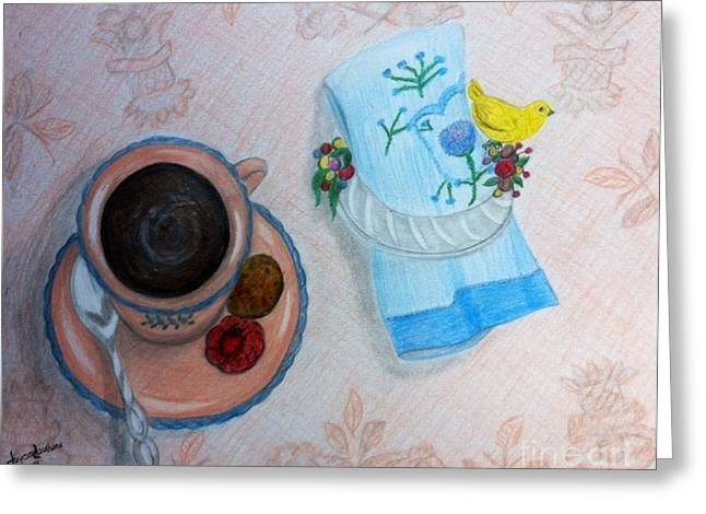 Table Pastels Greeting Cards - Evening Tea  Greeting Card by Joyce Lawhorn