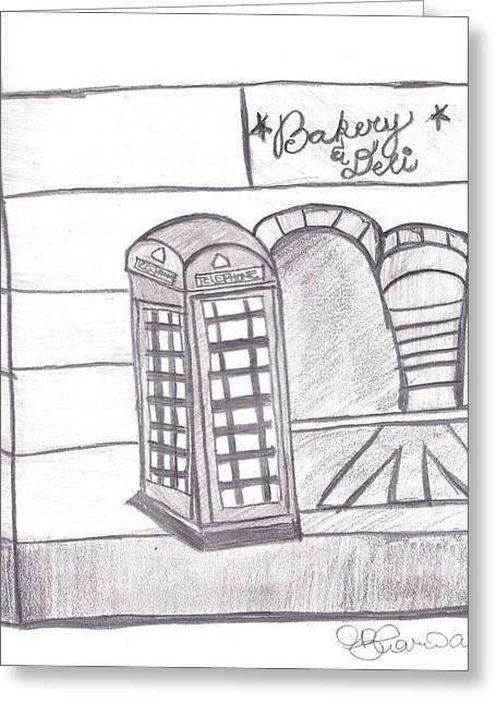 Deli Drawings Greeting Cards - British Telephone Booth   Greeting Card by Melissa Vijay Bharwani
