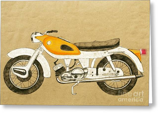 Historic Vehicle Pastels Greeting Cards - British two stroke Greeting Card by Stephen Brooks