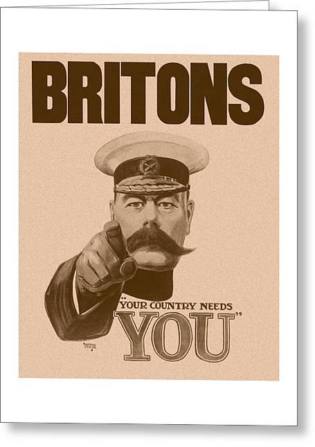 British Propaganda Greeting Cards - Britons Your Country Needs You  Greeting Card by War Is Hell Store