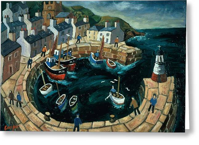 Fishing Trawler Greeting Cards - Brittany Harbour Oil On Board Greeting Card by William Cooper