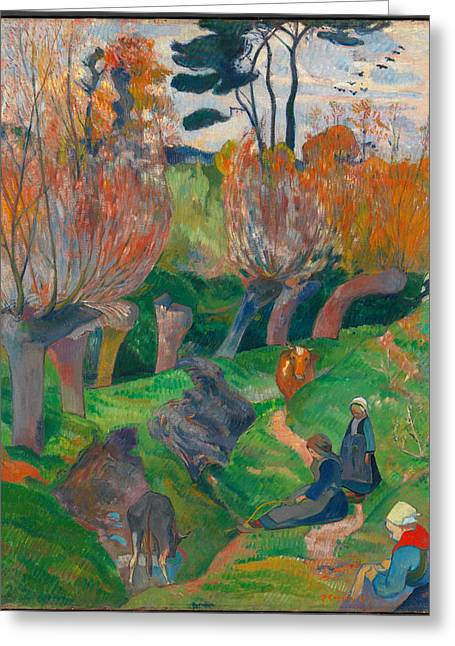 Landscape With Figure Greeting Cards - Brittany Landscape with cows Greeting Card by Paul Gauguin