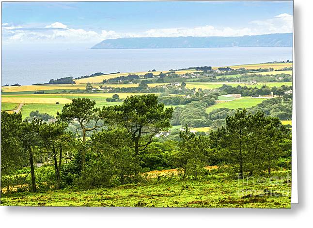 Rural Landscapes Photographs Greeting Cards - Brittany landscape with ocean view Greeting Card by Elena Elisseeva