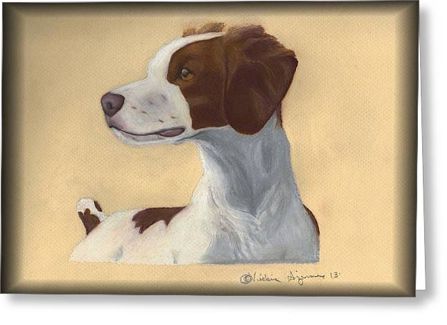 Canines Art Pastels Greeting Cards - Brittany Spaniel Greeting Card by Vickie Sizemore