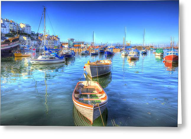 Fishing Boats Greeting Cards - Brixham Devon England UK English harbour summer day with blue sky Greeting Card by Michael Charles