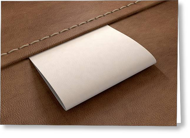 Labelled Greeting Cards - Broad Clothing Label On Leather Perspective Greeting Card by Allan Swart
