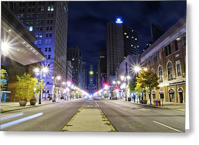 Broad Street Digital Art Greeting Cards - Broad Street and City Hall After Dark Greeting Card by Bill Cannon