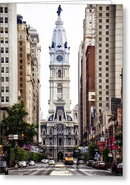 Broad Street Digital Art Greeting Cards - Broad Street and City Hall Greeting Card by Bill Cannon