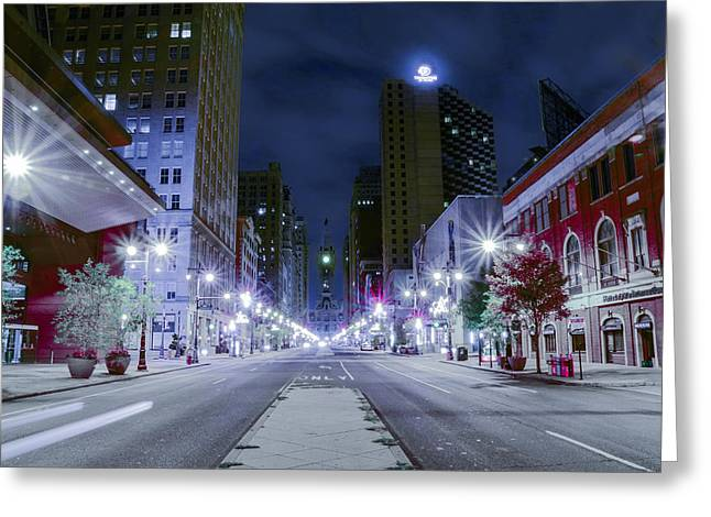 Broad Street Digital Art Greeting Cards - Broad Street at Night Greeting Card by Bill Cannon