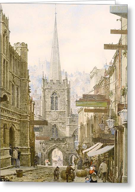 Historic England Paintings Greeting Cards - Broad Street Bristol Greeting Card by Louise Rayner