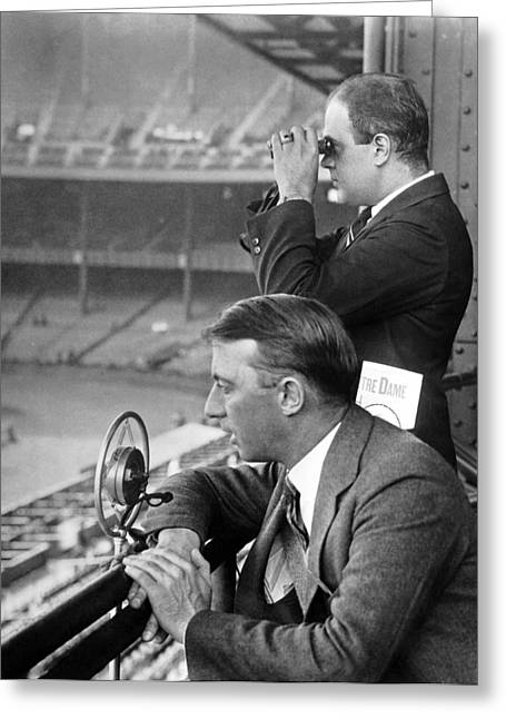 Broadcasting A Football Game Greeting Card by Underwood Archives