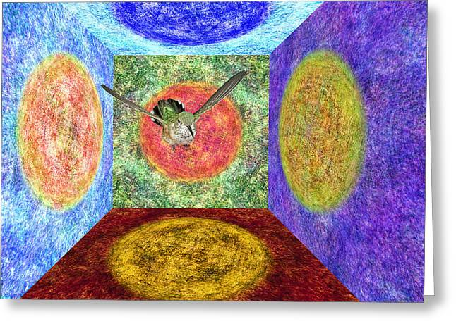 Nexus Greeting Cards - Broadtail Hummingbird in a Nexus of Five Portals Greeting Card by Gregory Scott