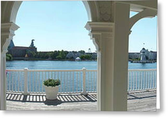 Photography By Thomas Woolworth Greeting Cards - Broadwalk Gazebo Panorama Walt Disney World Greeting Card by Thomas Woolworth