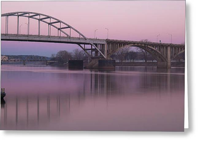 Arkansas Greeting Cards - Broadway Bridge Sunrise Greeting Card by Ray Devlin