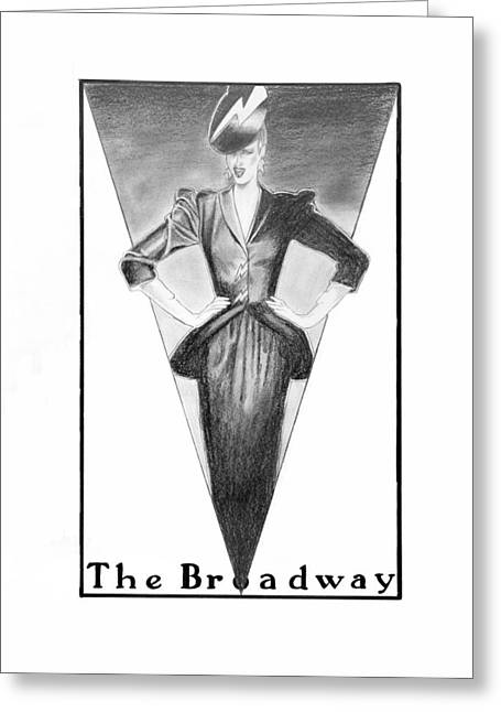 Office Space Drawings Greeting Cards - Broadway Dame Greeting Card by Sarah Parks